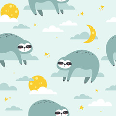 Sloths, stars, moon and clouds hand drawn backdrop. Colorful seamless pattern with animals. Decorative cute wallpaper, good for printing. Overlapping background vector. Design illustration