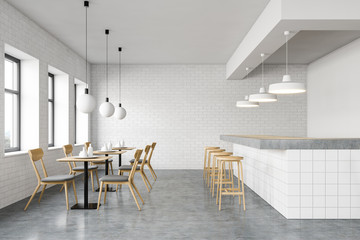 Interior of stylish cafe with long bar stand