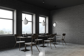 Loft restaurant corner with square tables Fototapete