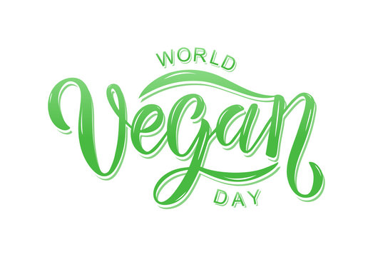 Hand sketched World Vegan day text