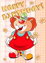 Foto auf Leinwand Babyzimmer Happy Birthday Card Cute Cartoon Character Cat . Vector Greeting Card. Happy Moment. Congratulation
