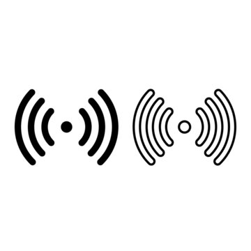Signal transmission point icon. Source and signal waves. Vector Illustration