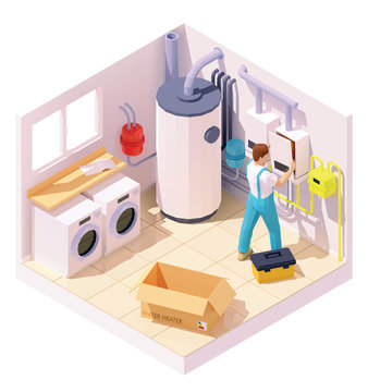 Vector isometric technician on water heater or boiler installation