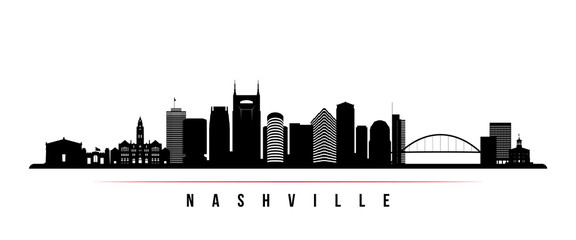 Nashville skyline horizontal banner. Black and white silhouette of Nashville, Tennessee. Vector template for your design.