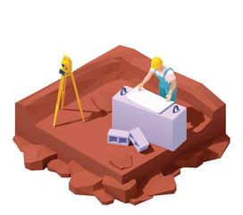 Isometric surveyor engineer on geodetic works