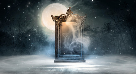 Dark fantasy landscape. Dark forest, magic mirror. Dark scene of a night landscape with a split glass. Night view, smoke, smog, neon light, moon.