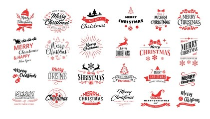 Lettering. Merry Christmas. Happy New Year, Typography set. Vector logo, emblems, text design. Usable for banners, greeting cards, gifts etc.  Wall mural