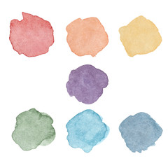 Rainbow colors stains set. Watercolor spots for artistic design isolated on white background. Round blots in chakra colors symbol concept.