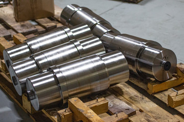 Steel shafts after turning operation.