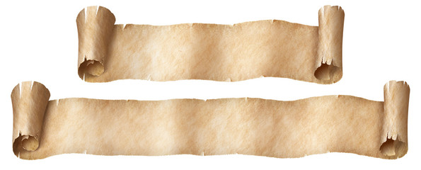 Fantasy paper or parchment scroll banners set isolated on white