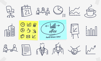 Set of office related vector drawings, doodles, line icons. Contains such Icons as Business Meeting, Workplace, Office Building, Reception Desk and more. Editable Stroke.