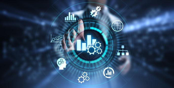 Business analytics intelligence analysis BI big data technology concept.