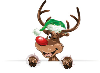 reindeer green hat smiling twink