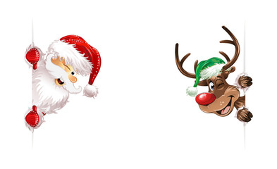 Santa and reindeer green red hat smiling twink