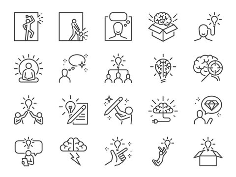 Idea line icon set. Included icons as thinking, creative, ideation, brain, light bulb, think out of the box and more.