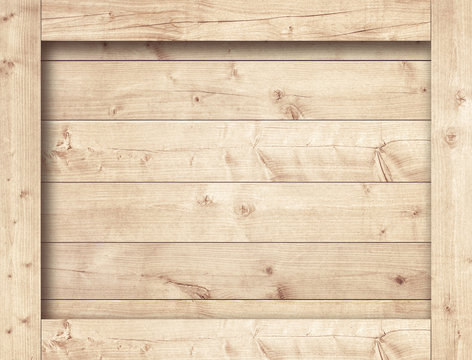 Side of brown wooden crate, box, planks or frame for text or message