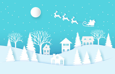 Acrylic Prints Turquoise Winter landscape with houses and trees.Santa Claus on the sky in winter season.Merry Christmas and Happy New Year. paper art design.Vector EPS 10.