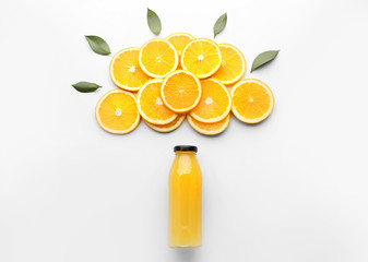 Composition with orange juice on white background