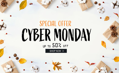 Cyber Monday banner with gift boxes with autumn leaves