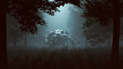 Futuristic AI Battle Droid Cyborg Mech with Glowing Lens Standing in a Wooded Clearing with a Beam of Light 3d illustration 3d render