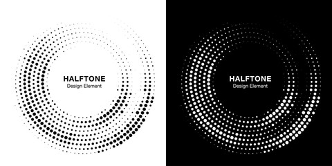 Wall Mural - Halftone circle dotted frame circularly distributed. Vector dots logo emblem design set. Round border Icon using random halftone circle dot raster texture. Half tone circular background pattern.