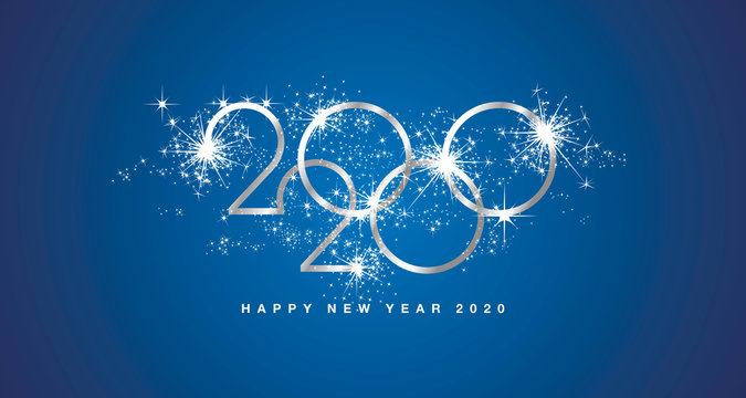 Happy New Year 2020 modern design with sparkle firework silver white blue greeting card