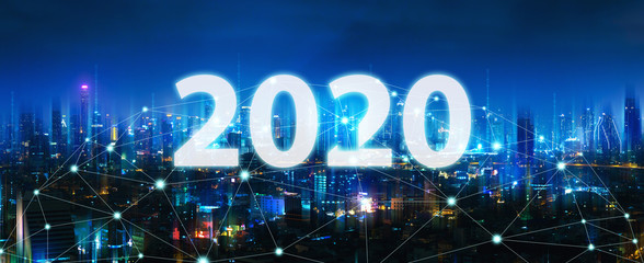 Wall Mural - New year 2020 Network and Connection city of Thailand