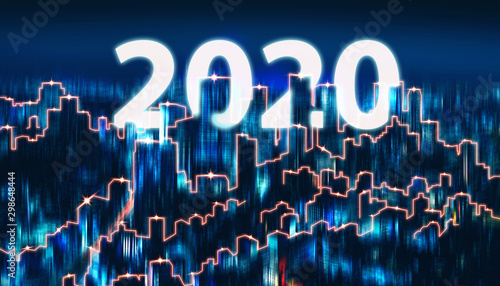 Wall mural Blur background new year 2020 of Network and Connection city of Japan
