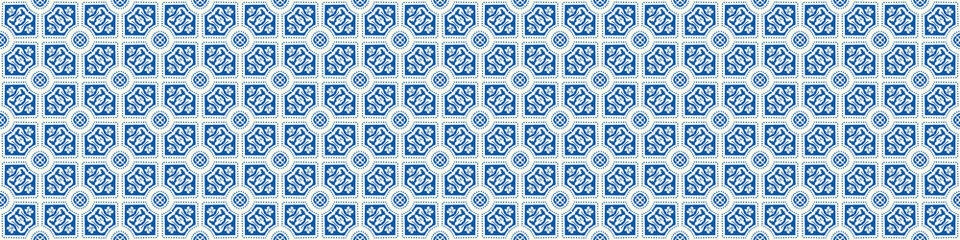 Portuguese Mosaic Tile Seamless Border Pattern. Ceramic Azulejo Style. Tiled Motif Graphic Banner. Traditional Portugal Tourism Ribbon Trim.Travel Brochure Background. Packaging Design Vector EPS 10 Fotomurales