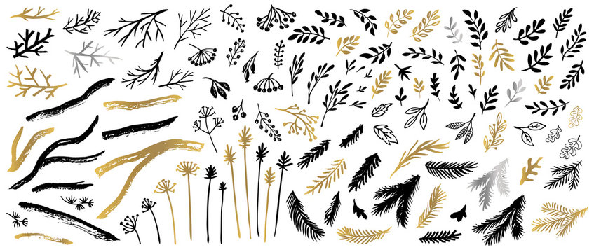 Tree Christmas tree branches golden silver brush strokes sketch markers pen. Floral leaf different plants leaves collection. Hand drawn vector illustration.