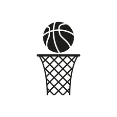 The icon of basketball. Ball and basketball net. Simple vector illustration