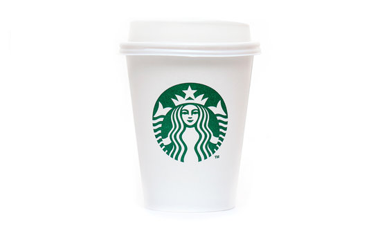 NEW YORK - OCT 27: Starbucks Paper Cup. Starbucks Coffee with Logo Mermaid isolated on white Background in NY on October 27. 2019 in USA