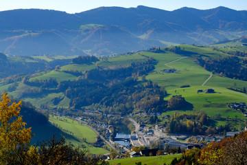 Printed kitchen splashbacks Khaki panoramic view from mountain sonntagberg, lower austria