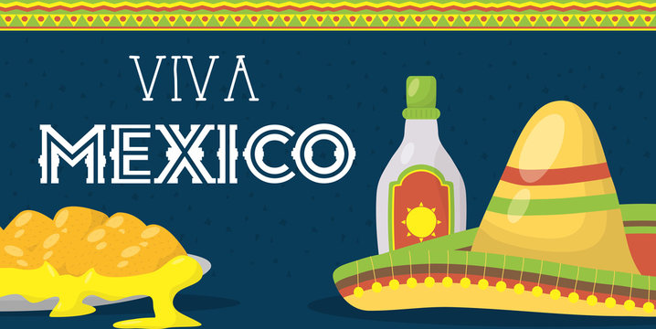 viva mexico celebration with tequila bottle and hat