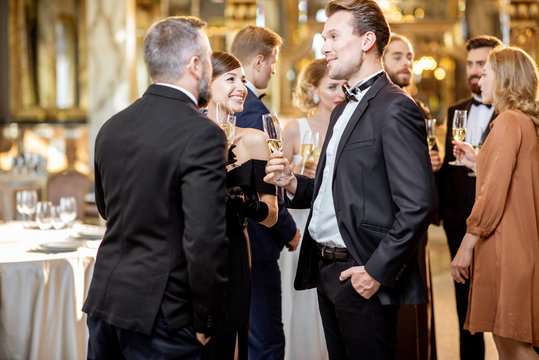 Elegant people during a celebration indoors