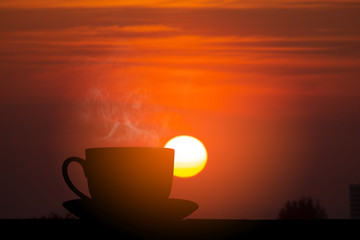 Foto op Canvas Rood paars silhouette hot coffee and sunrise