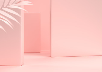 Scene with nature for showcase or cosmetic product presentation, in pink pastel colors, 3d rendering.