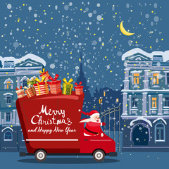 Merry Chrismas Santa Claus Van delivering gifts background night winter old city