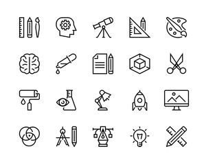 Design icons set. Editable vector stroke. 96x96 Pixel Perfect.