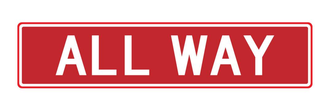 All way sign traffic warning symbol vector