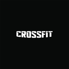 Text crossfit logotype template isolated on black background