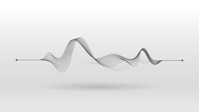 Wireframe sound mixer wave background