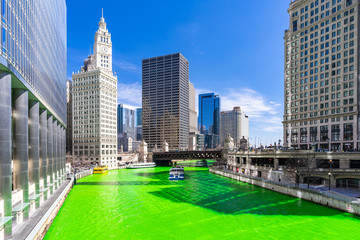 Photo sur Toile Chicago Dyeing River Chicago St' Partick Day.