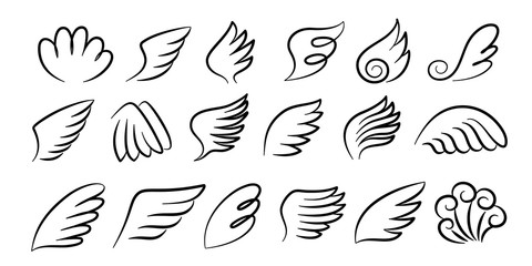 Sketch wings pair. Hand drawn angel wings ink sketch, cartoon bird wings silhouettes. Vector artwork design black feathered wing set for signs and emblem on white background