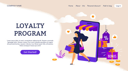 Reward program landing page. E-commerce concept with cartoon people characters. Vector illustrations loyalty program and discount, like promotion retail and advertisements shop