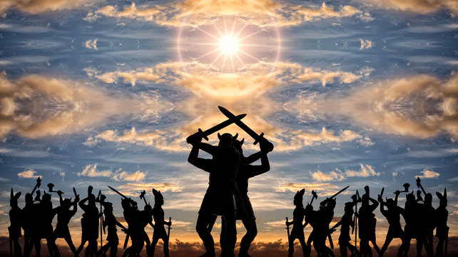 Giant silhouettes of two Gods-Vikings (vintage toy soldiers) with swords standing back to back among armed groups of Valhalla warriors, sunset clouds, sun, Old Norse, Odin and Asgard themes