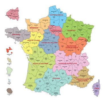 Carte de France avec départements et régions comprenant les départements d'Outre-Mer et  agrandissement des départements autour de Paris - Textes vectorisés et non vectorisés sur calques séparés