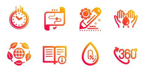 Target path, No alcohol and Safe water line icons set. Time, Project edit and Eco organic signs. Technical info, 360 degree symbols. Business aim, Mineral oil. Science set. Vector
