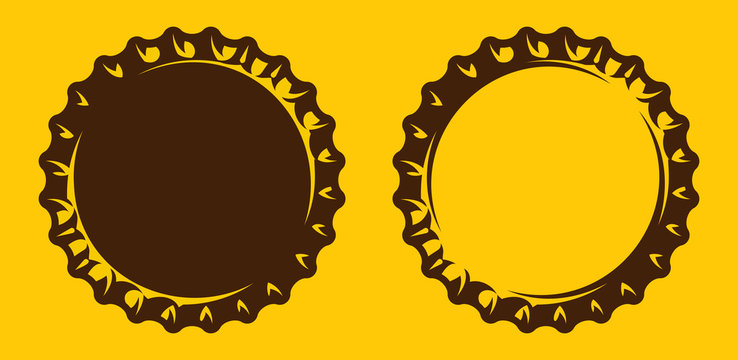 Vector set of illustrations with stylized beer bottle cap