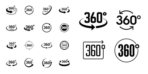 Simple Set of 360 Degree View Related Vector Icons for Your Design